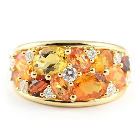 Gemstone Ring W Mandarin Garnet Citrine Amp Diamonds In