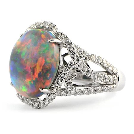 Lightning Ridge Black Opal Ring White Gold Wixon Jewelers