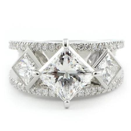 Custom Kite Style Engagement Ring 3 Stone Wixon Jewelers