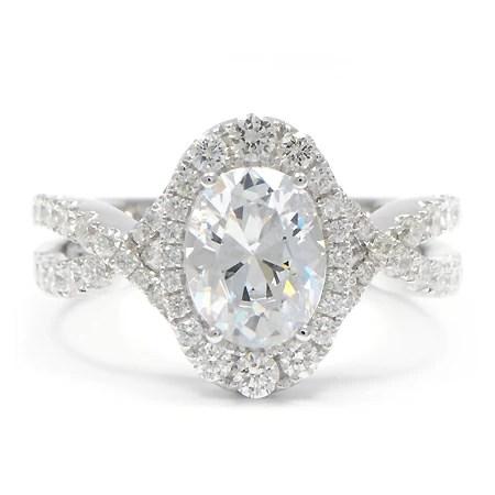 Graduated Diamond Halo Engagement Ring Oval Wixon Jewelers