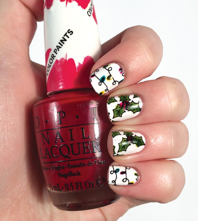 Holly Berry Nails Using OPI Color Paints Nail Art | The Rebel Planner