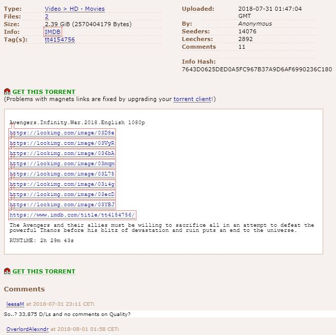 The Pirate Bay torrent information