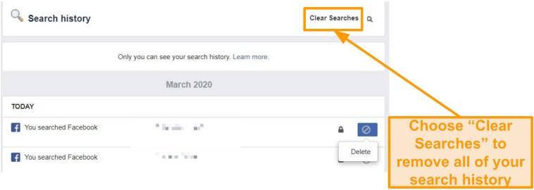 Screenshot of how to clear whole Facebook search history