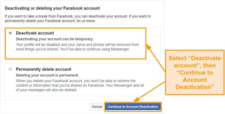 Screenshot of how to deactivate Facebook account