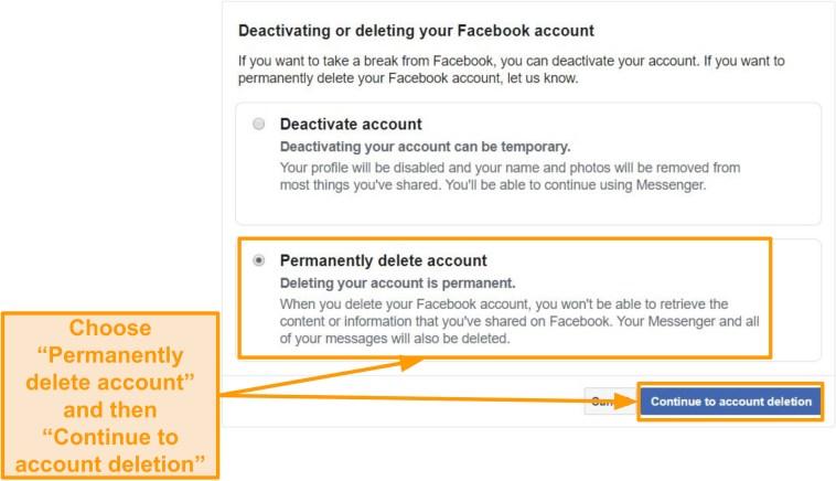 "Screenshot of ""Permanently delete account"" option"