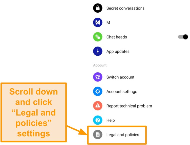Screenshot of Legal and policies settings in Messenger