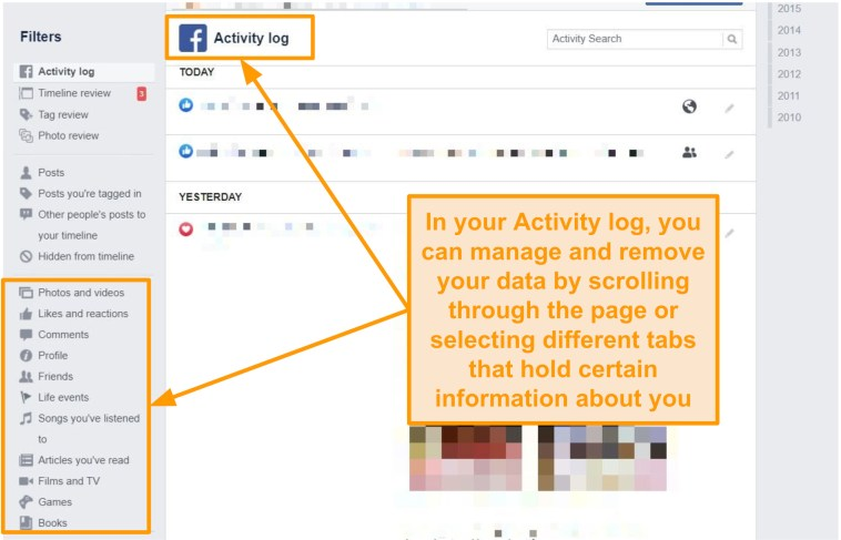 how to delete your activity log on facebook