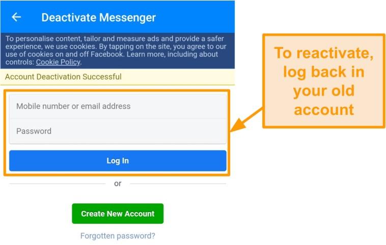 Screenshot of successful Messenger deactivation
