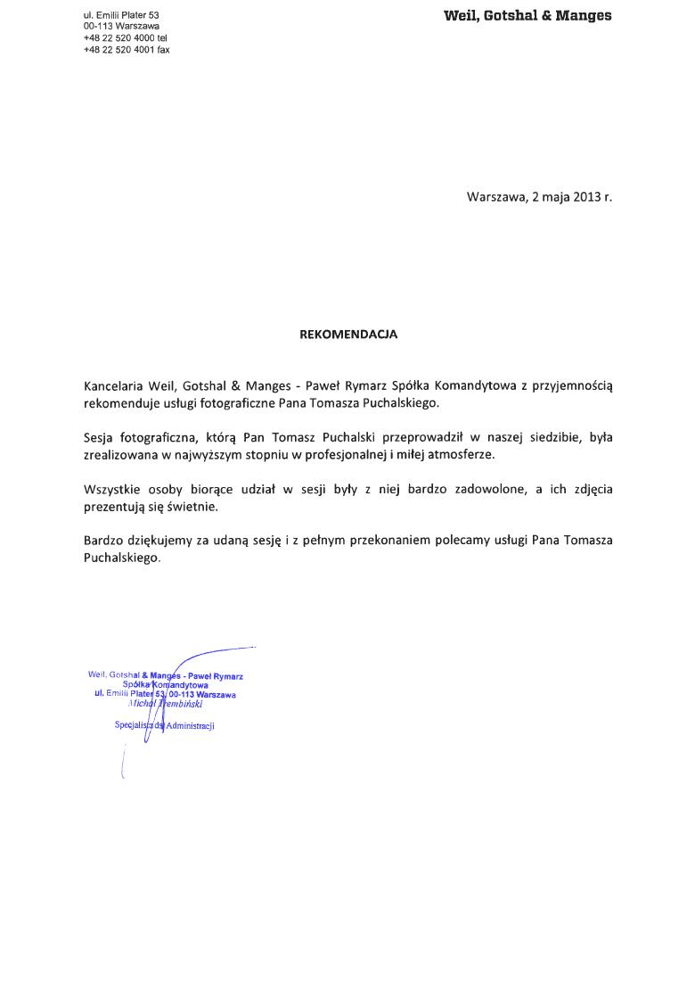 List referencyjny sesji biznesowej dla Weil, Gotshal & Manges