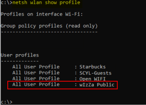 Show Windows 10 WIFI profiles