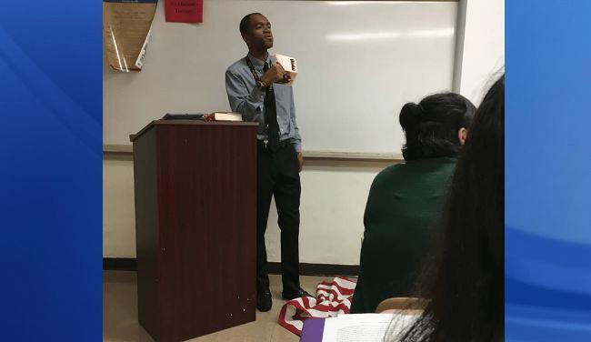 Teacher Lee Francis steps on American flag during lesson First Amendment_181015