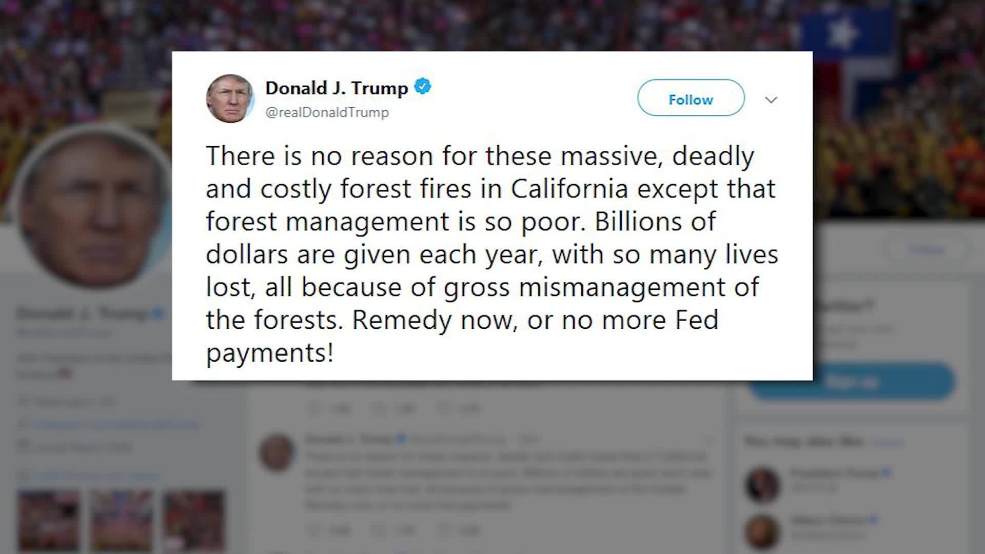 Trump blames mismanagement for California wildfires; threatens to withhold funding