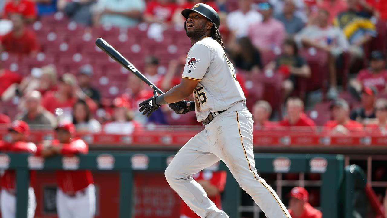 Pittsburgh Pirates' Josh Bell, three-run home run against the Reds