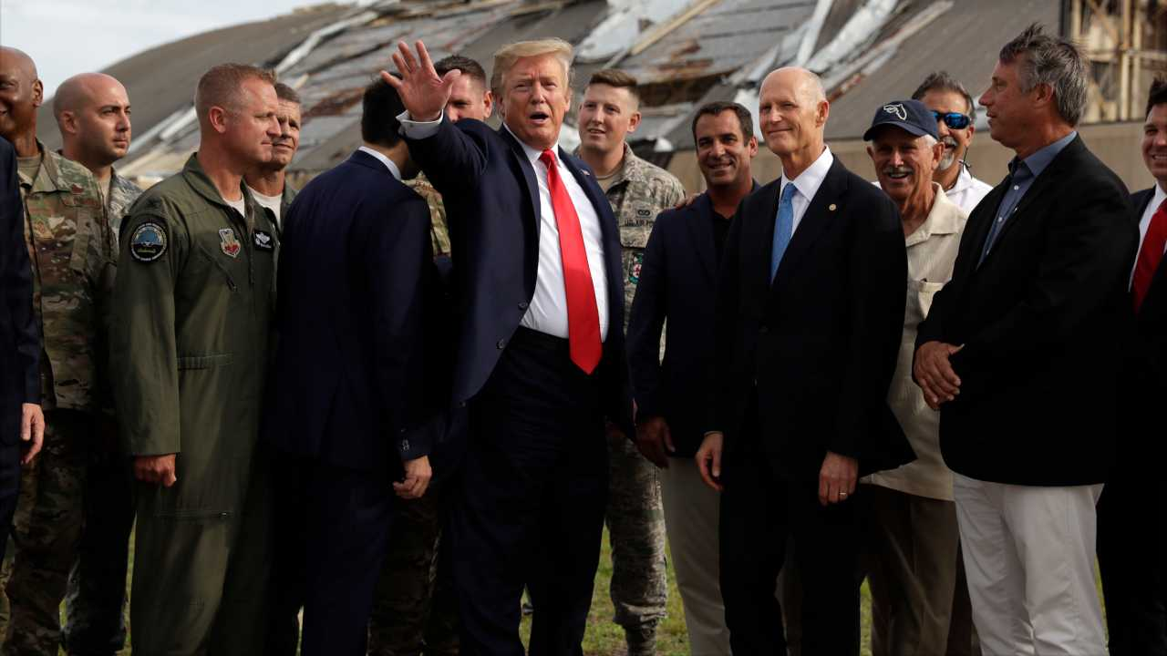 President Trump tours Florida panhandle to survey hurricane damage