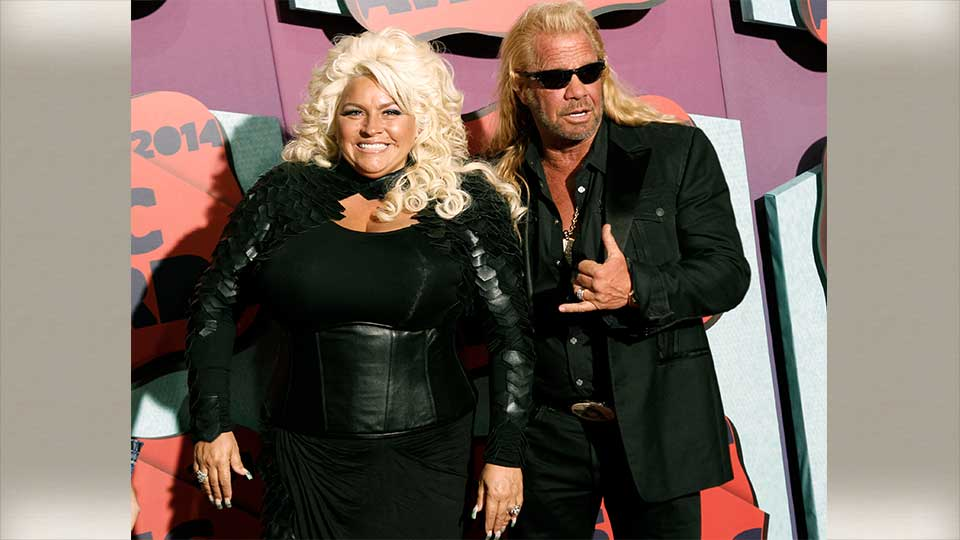 FILE - In this June 4, 2014 file photo, Beth Chapman, left, and Duane Chapman arrive at the CMT Music Awards at Bridgestone Arena, in Nashville, Tenn