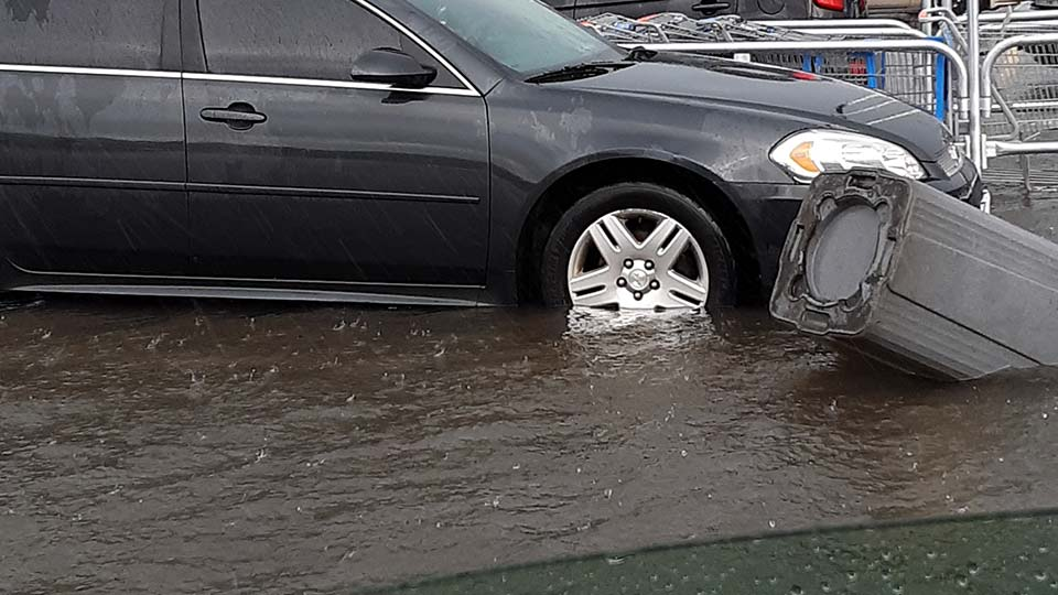 Flooded parking lot in Boardman, Ohio, submitted by Dustin S.