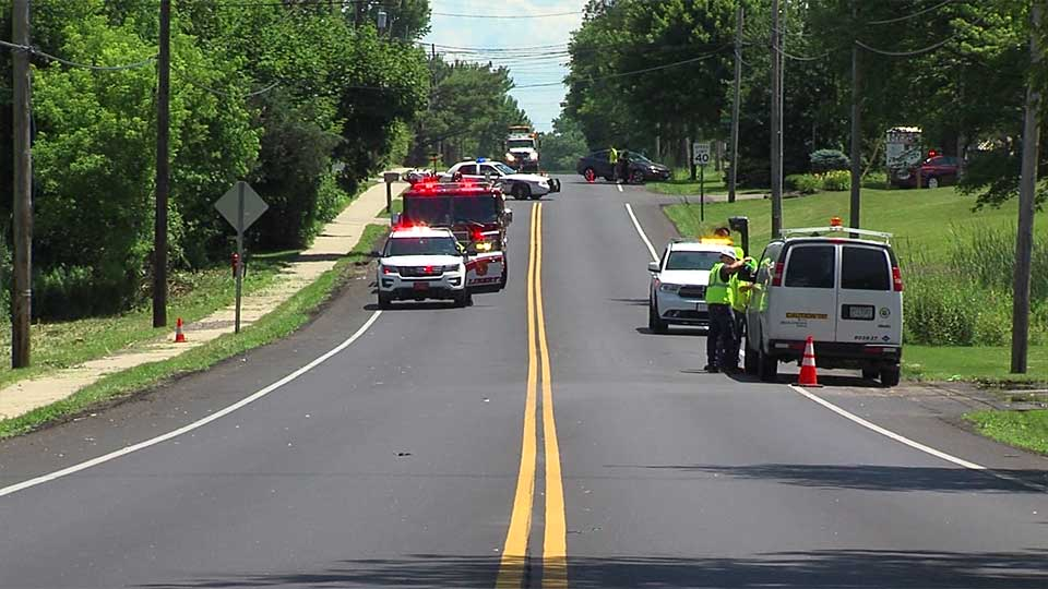Ohio Department of Transportation crews mowing grass in Liberty clipped a gas line, causing a leak.