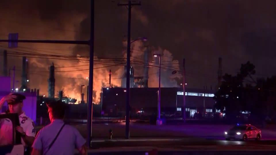 Fire breaks out at a refinery in Philadelphia, Pa.