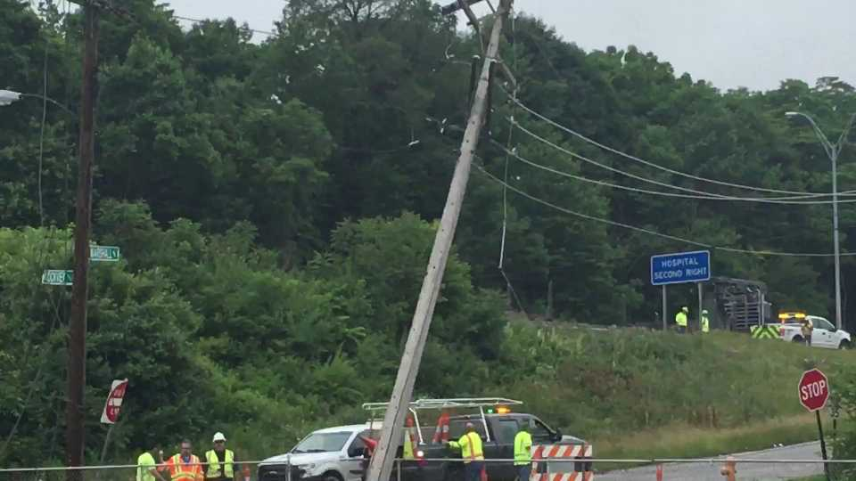 A crash on Rockview Avenue caused power lines to fall onto Interstate 680 nearby.