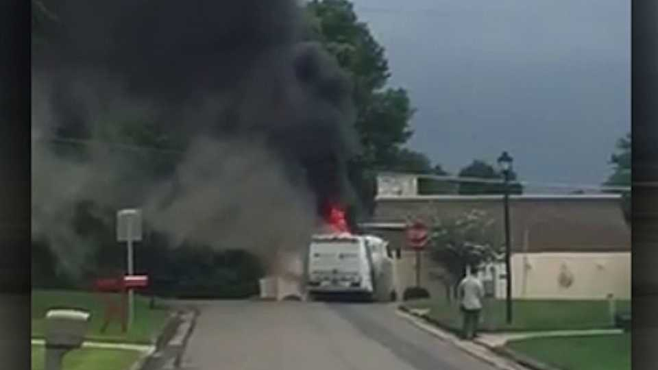 Truck catches on fire on Spitler Road in Poland