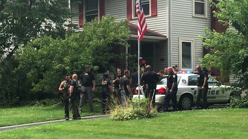 A heavy police presence at a house on S. Hazelwood Avenue in Youngstown.