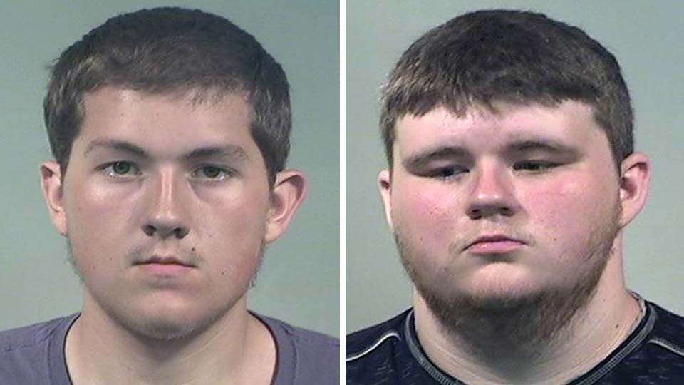 Justin Testerman and Damian Brumfield, charged with assault in Lordstown water-bottle-throwing incident.