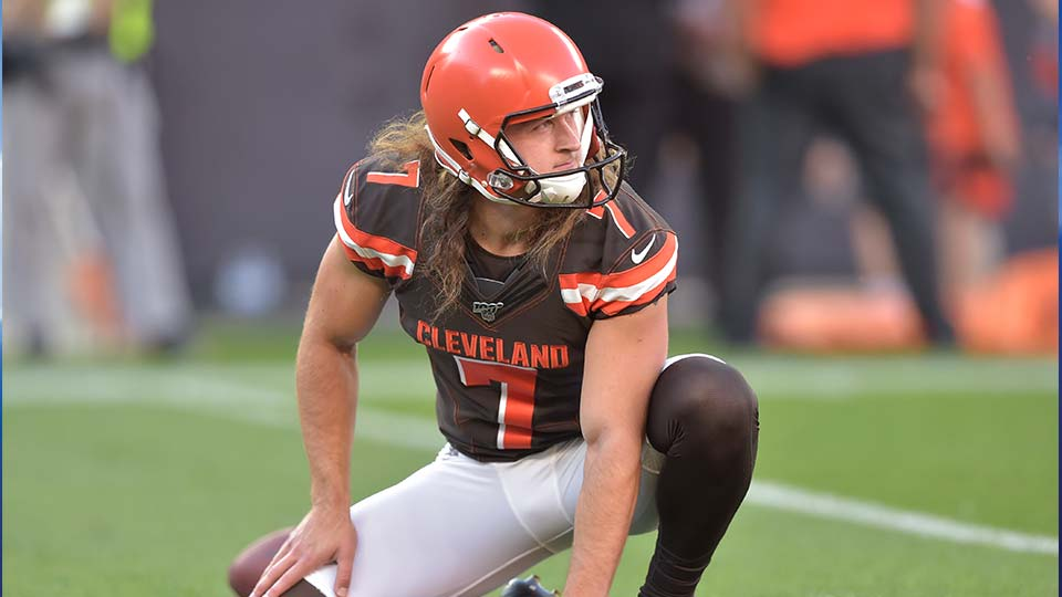 Cleveland Browns punter Jamie Gillan warms up before an NFL preseason football game against the Detroit Lions.