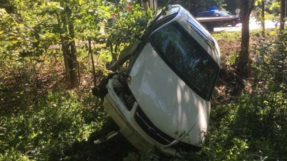 Green vehicle crash, driver charged with DUI