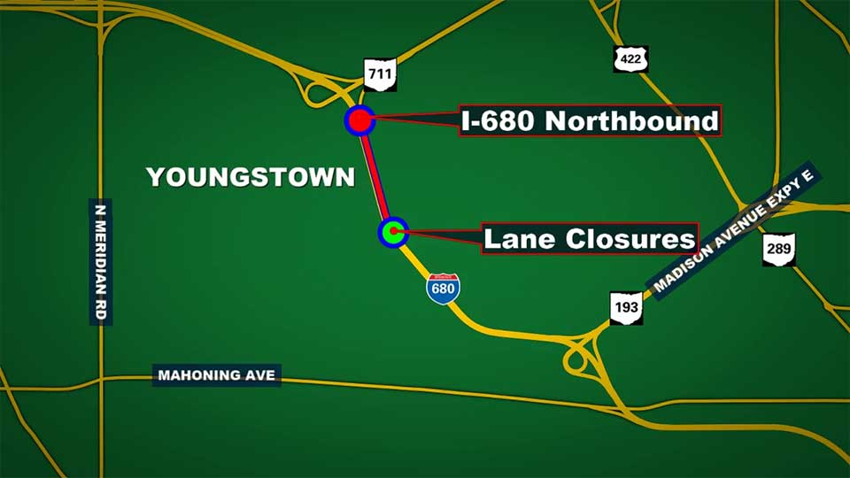 Portion of I-680 in Youngstown reduced to one lane of