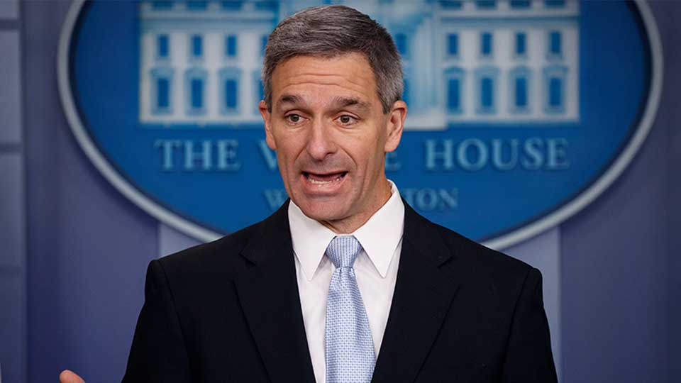 Acting Director of United States Citizenship and Immigration Services Ken Cuccinelli, speaks during a briefing at the White House, Monday, Aug. 12, 2019, in Washington.