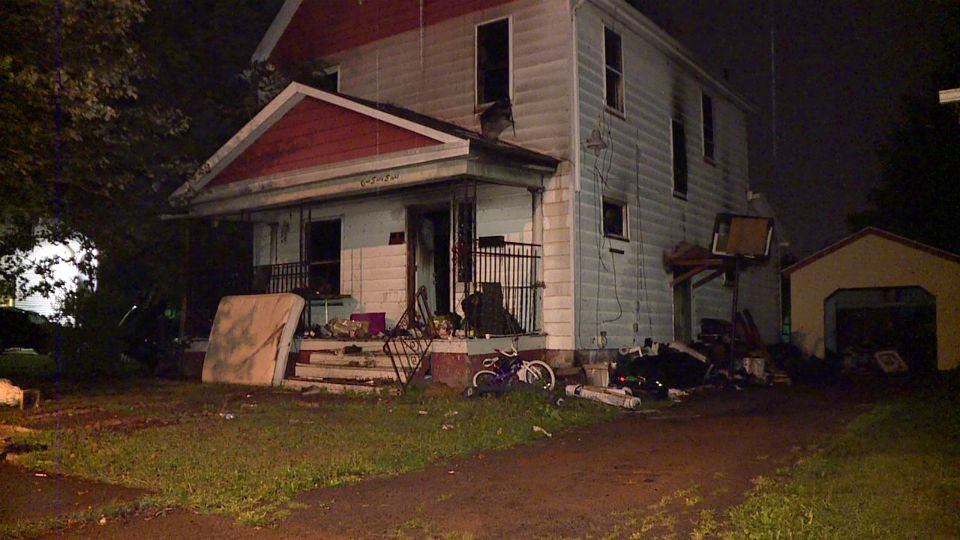A house is damaged by fire in Youngstown, Ohio
