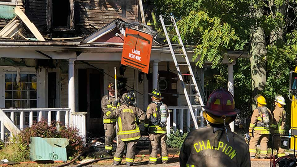 Crews were called about 10:45 a.m. and found heavy fire on the first and second floors
