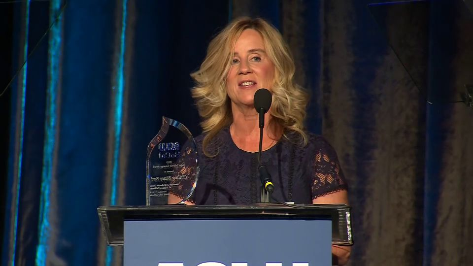 Christine Blasey Ford spoke Sunday after she accepted the Rodger Baldwin Courage Award from the ACLU of Southern California in Beverly Hills.