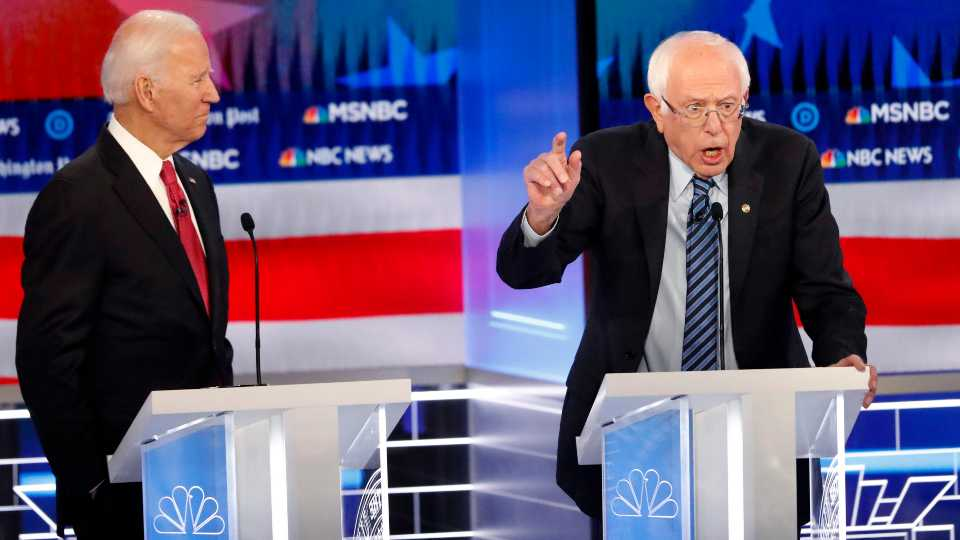 Joe Biden and Bernie Sanders, Democratic debate in Atlanta