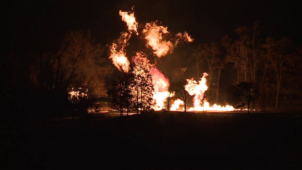 A gas fire lit up the night sky in Pepper Pike, Ohio.