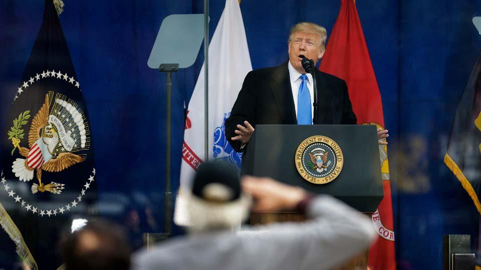 President Trump speaking on Veteran's Day in New York