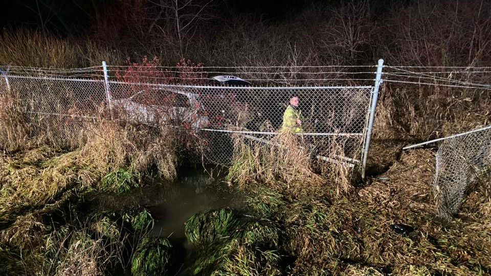 An SUV crashed through a fence in Braceville Township.