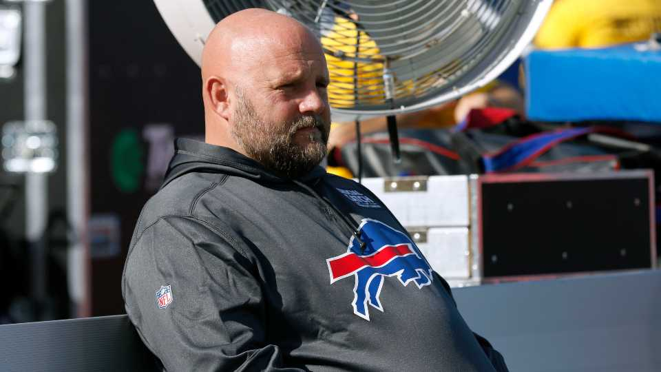 Buffalo Bills offensive coordinator Brian Daboll sits on the bench before an NFL football game Miami Dolphins, Sunday, Oct. 20, 2019, in Orchard Park, N.Y.