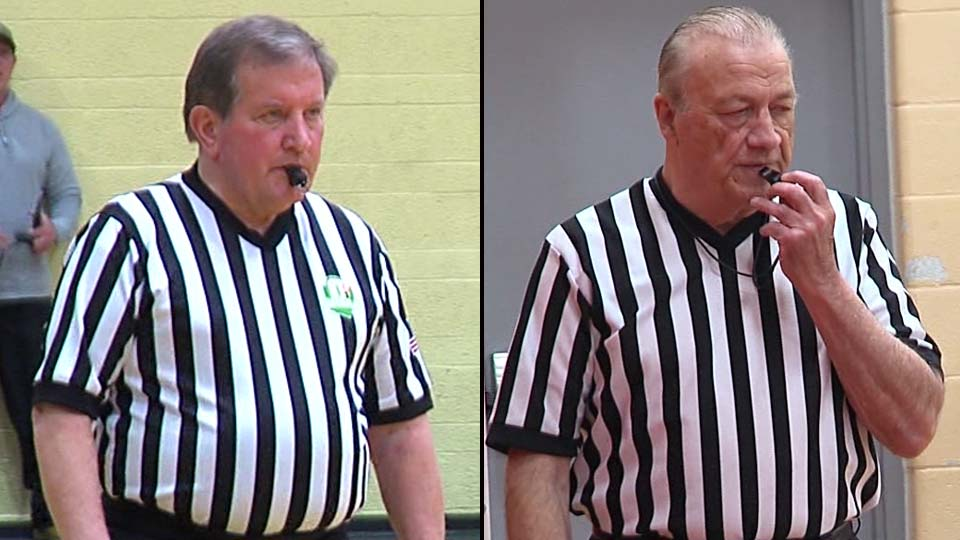 Phil Roudebush (left) and Ed Moore (right) refereeing
