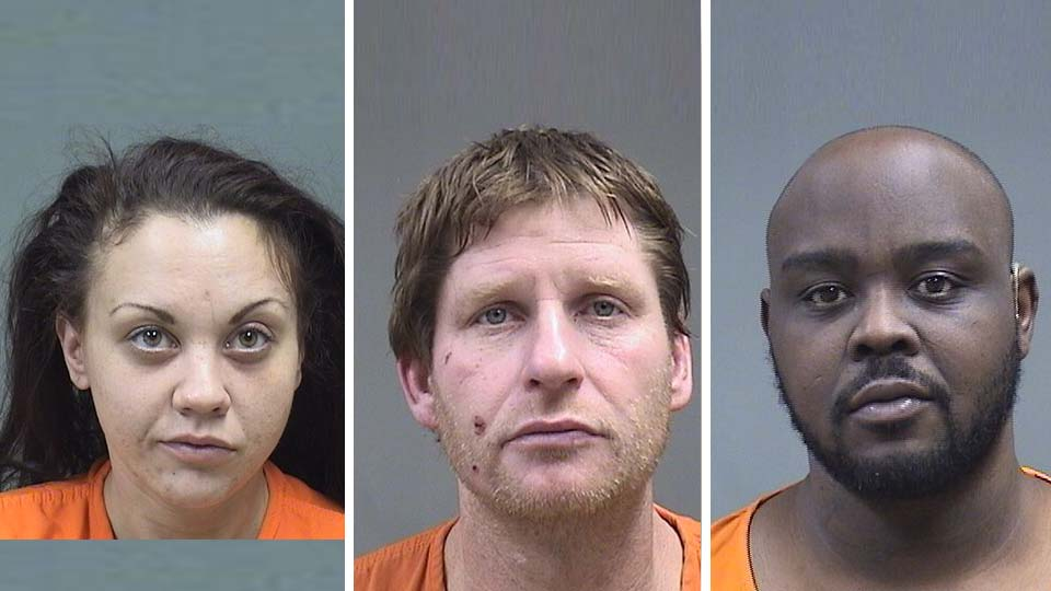 Kristin Simmons, Richard Cummings and Terrell Vaughn charged with drug possession and gun charges in Youngstown after a search.