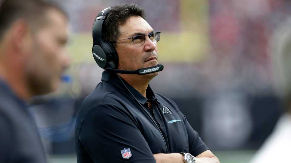 Carolina Panthers head coach Ron Rivera watches during the second half of an NFL football game against the Houston Texans in Houston.