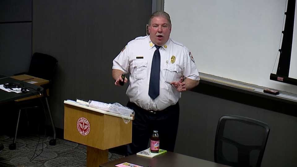 Youngstown Fire Battalion Chief Sil Caggiano speaks at YSU on the dangers of fracking