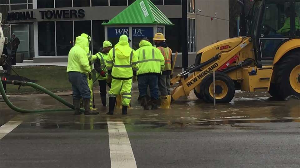It happened Thursday morning at Wick Avenue and W. Boardman Street, flooding the roadways.