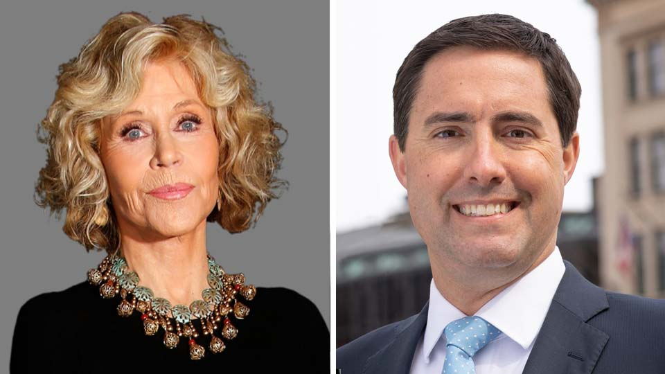 Jane Fonda and Ohio Secretary of State Frank LaRose