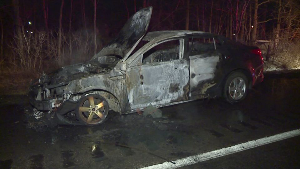 A car caught fire on Route 11 in Liberty Twp.