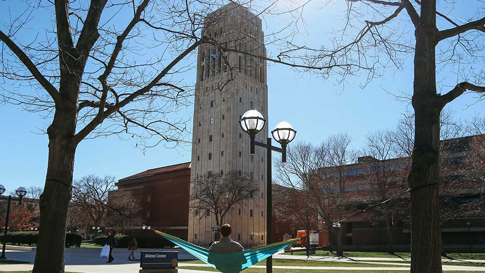 FILE - This April 7, 2017 file photo, shows Burton Tower on the University of Michigan campus in Ann Arbor, Mich. Several former patients have alleged that Robert E. Anderson, a late University of Michigan physician, sexually abused them during exams going back decades, prompting the Ann Arbor school to ask others with information to come forward, officials said Wednesday, Feb. 19, 2020.