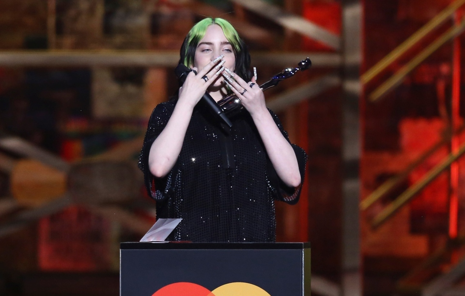 Billie Eilish accepts her award for International Female Solo Artist on stage at the Brit Awards 2020 in London.