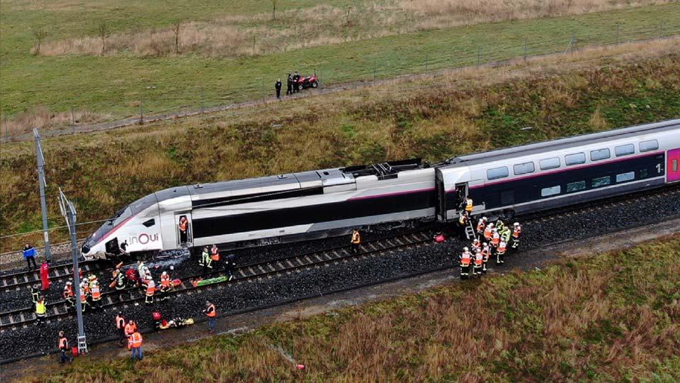 High-speed train derails in eastern France; 21 injured.