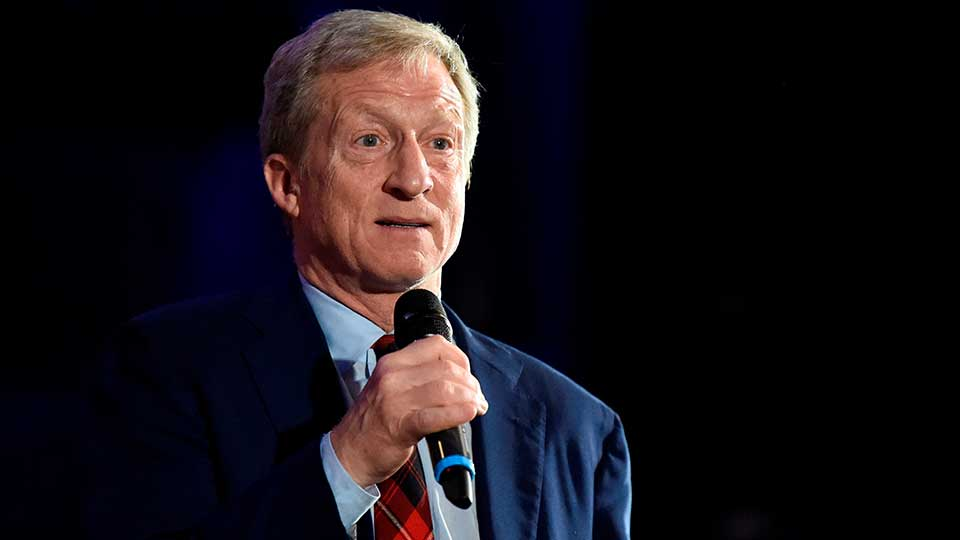 Democratic presidential candidate Tom Steyer announces the end of his presidential campaign following the results of the South Carolina primary on Saturday, Feb. 29, 2020, in Columbia, S.C.