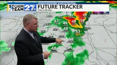 Blustery wind with showers Thursday